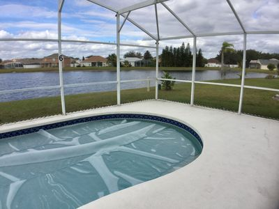 Large pool - fully screened - show winter pool cover in place