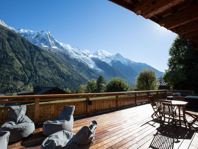 Photo for Stunning chalet with best views of Mont Blanc, large garden, hot tub, sauna,