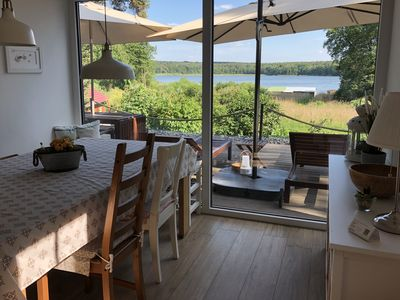 Photo for Fantastic lake view, motor boat, near the beach, W-LAN, fireplace, 2 bathrooms, relaxation