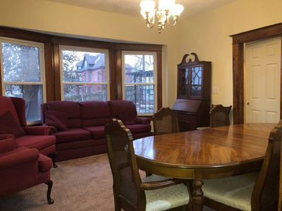 large dining room with couches