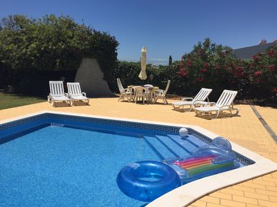 Poolside beds and dining table & 3 bed Villa with Private Pool and Gardens... - HomeAway Albufeira