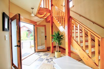 Entrance and stairs to the  kitchen, master bedroom and living / dining room.