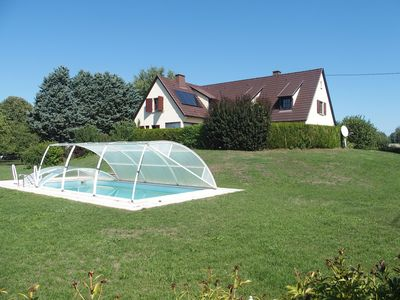 Photo for 15 kms from Colmar, house 250 m2, 20 acres, 5 bedrooms, air conditioning, heated pool + dome