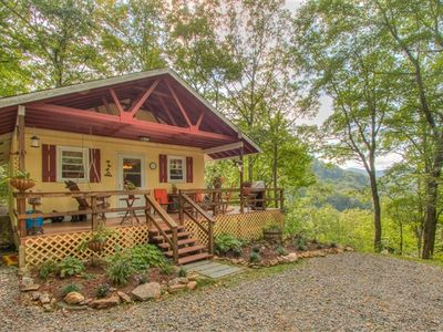 Photo for Privately located 1 Bedroom cottage for ultimate getaway from it all while enjoying the mountain scenery that surrounds you. All one level with One bedroom with a queen bed and a sleeper sofa in the living room area.