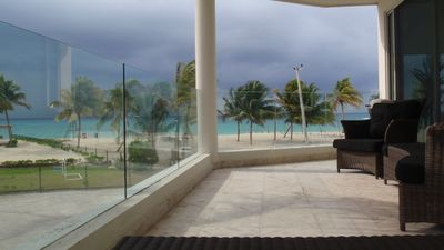 Breathtaking view over Caribbean Sea from spacious terrace, level above ground