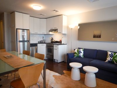 Combined living / dining. Newly built in 2016.  Quality furnishings