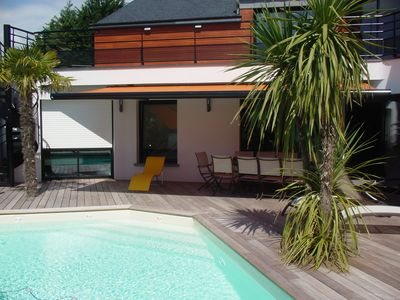 Photo for Spacious villa with heated pool, close to beaches, 8 people