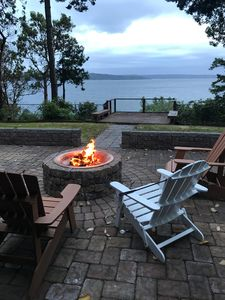 Relax to the sounds of a crackling fire and gorgeous views of Saratoga Passage!
