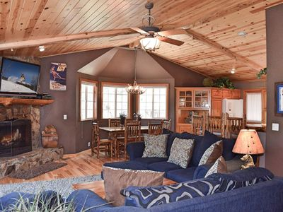 Photo for Indigo Moon: Log Cabin! Minutes from Bear Mtn! Spa! Large Deck! Charcoal Barbecue! Horseshoes! WiFi!