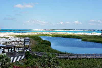 View from our balcony of East Pass and the Jetties.