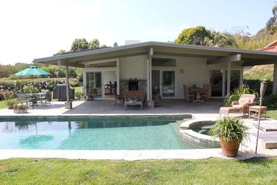 Outdoor Pool, Spa, fireplace, BBQ, out door dining area, ping pong table, yard