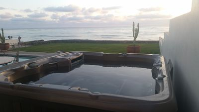 Relax in the six person spa  at Casa Blanca in Rosarito