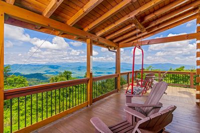 Long range views overlooking Blue Ridge and Pisgah National Forest.