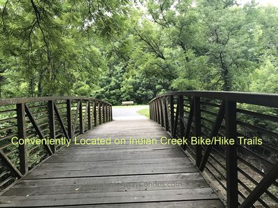 Easy access to miles of Indian Creek biking/hiking trails