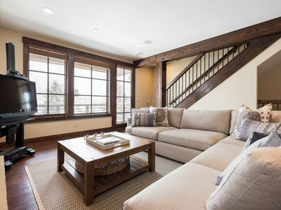Photo for Relaxed luxury condo with private hot tub -- on-site chairlift, winter shuttle service, heated pool