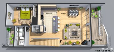 3D color floor plan First living level above garage and play room