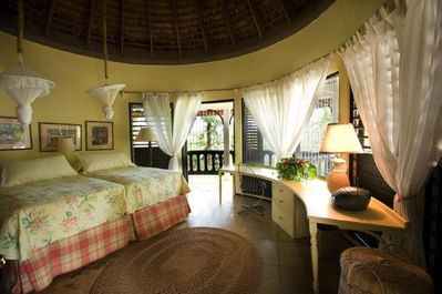 The round room with private patio overlooking pool