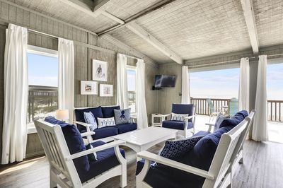 Living Room opening to Beach Front Deck