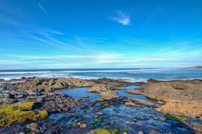 The rocky shore line is a short walk away and perfect for watching the crashing waves.