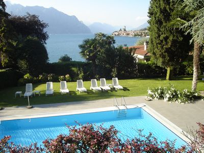 Photo for Residenza Villa Sopri - directly on the lake, with beautiful garden and pool