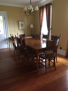 The dining room comfortably seats 10-12 guests.
