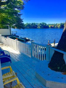 Right on lake archer in Wrentham with outdoor shower , grill , dock , boat ramp