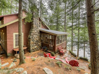 Photo for NEW LISTING! Dog-friendly, lakefront camp cabin w/ a dock & multiple decks