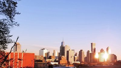 Sweeping views of downtown New York City and Jersey City skyline from nearby