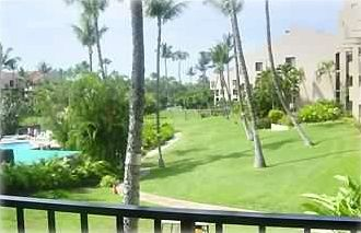 View from Lanai (balcony) of the Pool Area and the Central Garden Area