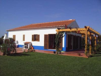 Photo for 2 bed villa with large pool tennis court Wifi/Sat TV