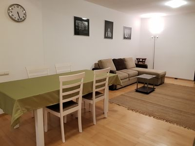 Spacious living room and dining room