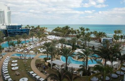 View of Fontainebleau Pools from Balcony of Unit