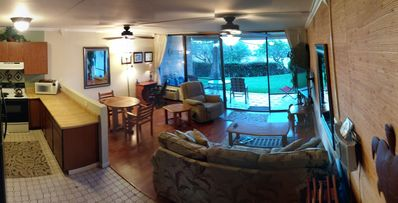 Living area, with secluded lanai and yard