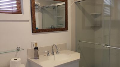 Bath - Gorgeous shower and tasteful finishes in bathroom.