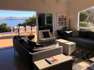 Photo for Modern home with Stunning Lake Views & Hot Tub - Cross the street to the Lake!