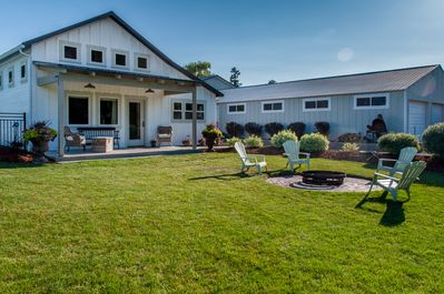 Bryant Barn is part of a 3.5 acre property.   Enjoy the fire pit and large yard.