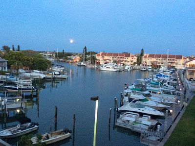 Moonlight view of the marina from the double balcony
