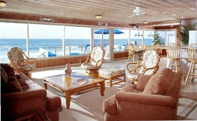 View beach and ocean from Seascape's Great Room ( open kitchen/ living/dining.)