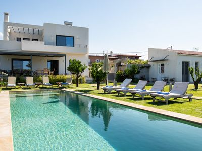 Photo for MOUSIKI, elegant villa with pool, terrace, and garden. 450 m from the beach