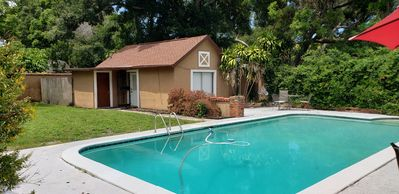 Photo for Quaint Cozy Cottage Guest House with pool for up to 3, dogs OK,  golf course