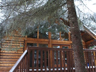 Photo for Perfect Location! Cozy And Quiet Log Cabin; Walking Distance To Ski Lifts!!
