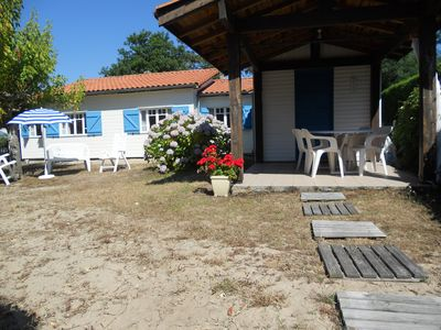 Photo for MIMIZAN BEACH beach 800m, 5km lake, nice wooden house well equipped, ground floor.