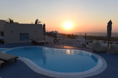 swimming pool and sunset