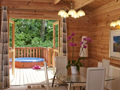 Photo for 5 star, award winning Scandinavian Lodge with luxurious hot tub