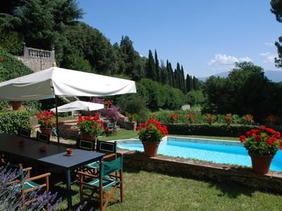 Photo for Luxury Villa on the Lucca's hills with private pool, BBQ,tennis court,PingPong.