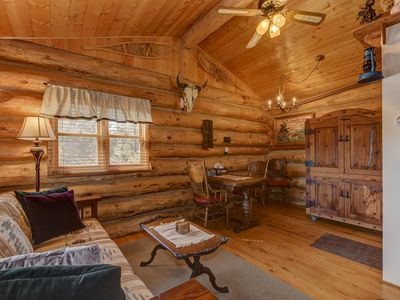 Photo for Cozy, Quiet and Unique Log Cabin w/ Mtn View : 4 mi to Downtown