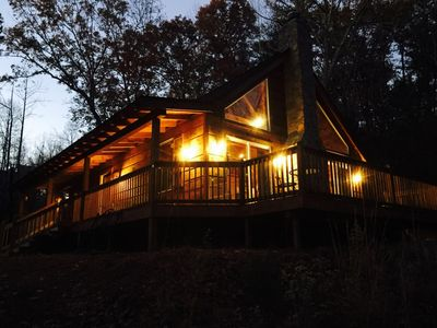 Our sweet cabin at night
