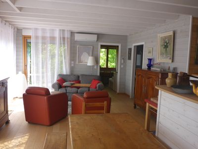 Photo for Comfortable wooden house near village and sea on the edge of the forest