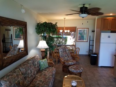 Living/dining area with sleeper sofa