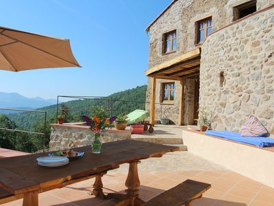 Photo for Unique 3 bedroom apartment with private hot tub at ancient Catalan hill farm